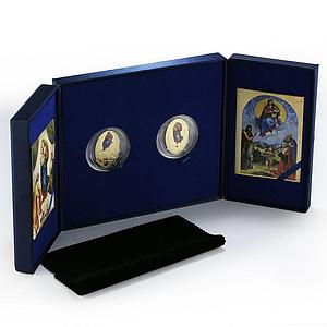 Fiji set of 2 coins 500 Years The Raphael Madonnas art gilded proof silver 2012