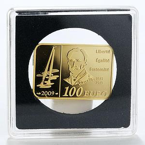 France 100 euro Auguste Renoir Impressionist Painter rectangular gold coin 2009