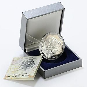 Singapore 1 dollar Snake dancing woman tower proof silver coin 2001