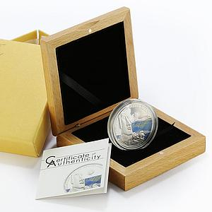 Palau 5 dollars Wonders Statues of Easter Island colored proof silver coin 2010