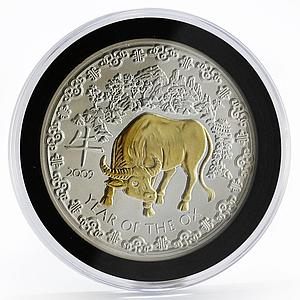 Rwanda 1000 francs Year of the Ox crystal gilded silver coin 2009