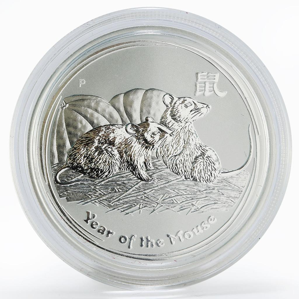 Australia 50 cents Lunar Calendar series II Year of the Mouse silver coin 2008