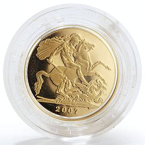 Britain Sovereign George slaying dragon Proof gold coin 2007 with Box whit CoA