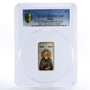 Niue 2 dollars St. Sergius of Radonezh orthdox colored proof silver coin 2014