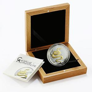Togo 1000 francs Year of the Snake Lunar Zodiac gilded silver coin 2013