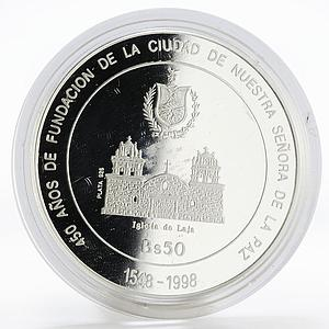 Bolivia 50 boliviano 450th Anniversary of La Paz church proof silver coin 1998