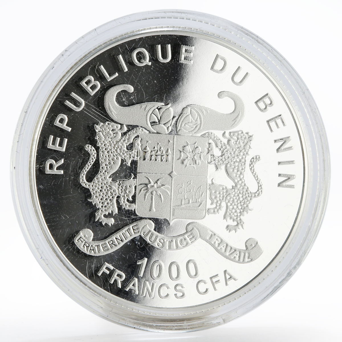Benin 1000 francs Year of the Horse Pegasus colored proof silver coin 2014