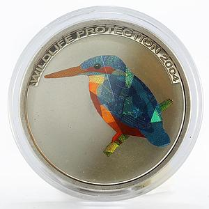 Congo 10 francs Wildlife Protection Kingfisher proof silver coin 2004