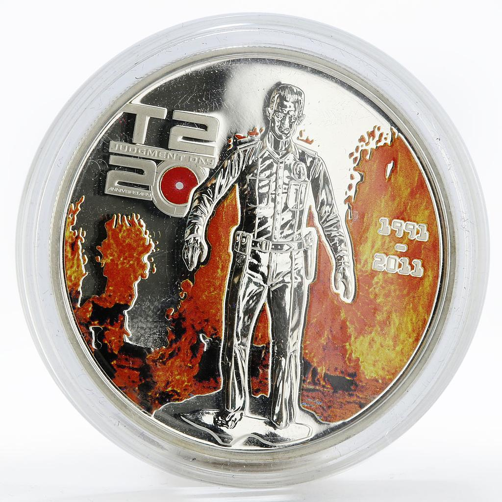 Cook Island 5 dollars Terminator 2 T1000 colored proof silver coin 2011