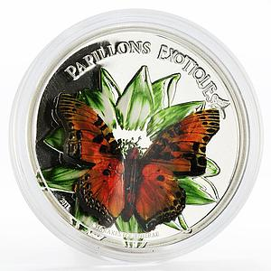 Cameroon 1000 francs Charaxes Fournierae butterfly colored silver coin 2011