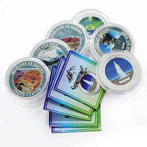 Cook Islands set of 6 coins Wonders of Nature colored proof silver coin 2009