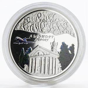 Niue 1 dollar Sochi Airport plane building colored proof silver coin 2008