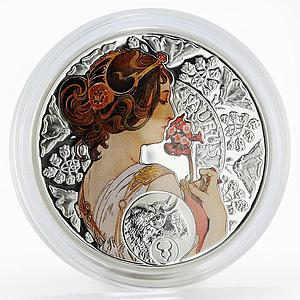 Niue 1 dollar Alfonso Mucha Signs of the Zodiac Taurus silver colored proof 2011