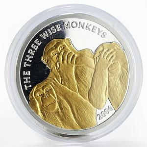 Somalia 4000 shillings Three Wise Monkeys animals gilded proof silver coin 2006