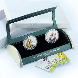 Singapore set of 2 coins 5 dollars Orchids flora silver coloured coin 2009