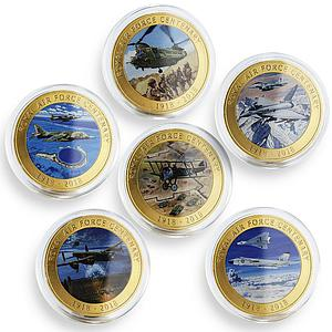 Isle of Man set of 6 coins Royal Air Force Centenary plane gilded coin 2018