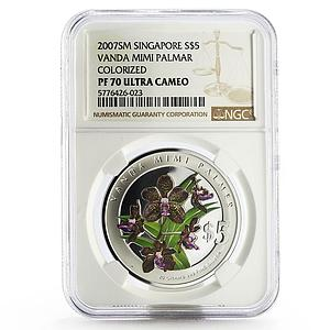 Singapore 5 dollars Flowers Vanda Mimi Palmer colored silver proof coin 2007