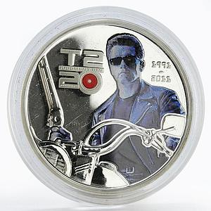 Cook Island 5 dollars Terminator 2 T800 colored proof silver coin 2011