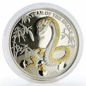 Togo 1000 francs Year of the Snake gilded silver proof coin 2013