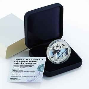 Cameroon 500 francs Hunting and Fishing duck colored proof silver coin 2019
