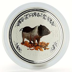 Australia 8 dollars Year of the Pig Lunar Series I 5 Oz colored silver coin 2007