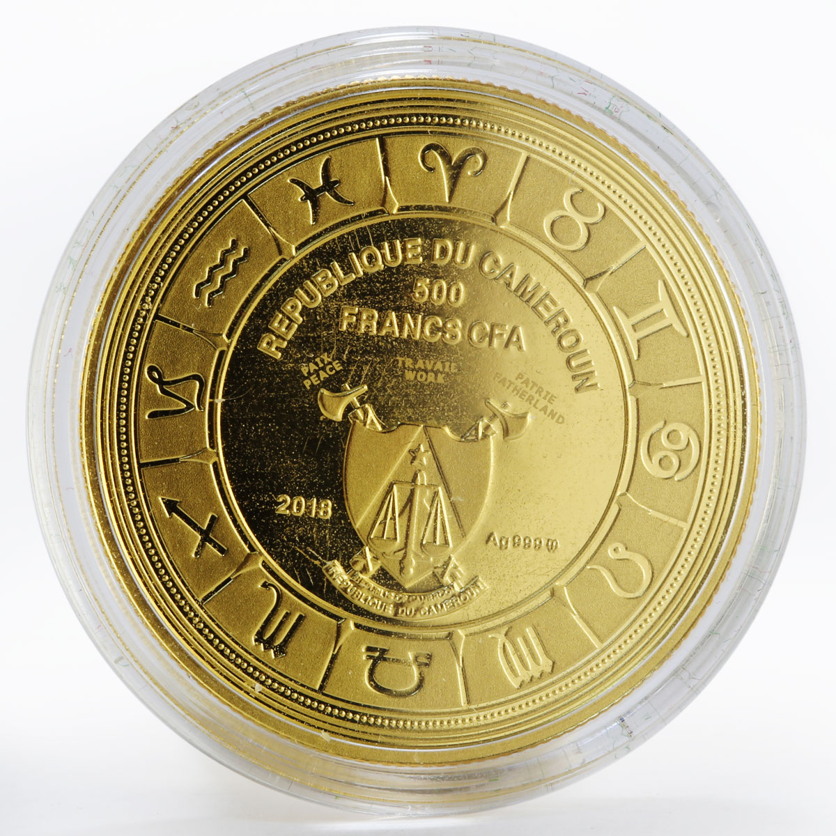 Cameroon 500 francs Zodiac Signs Leo colored gilded proof silver coin 2018