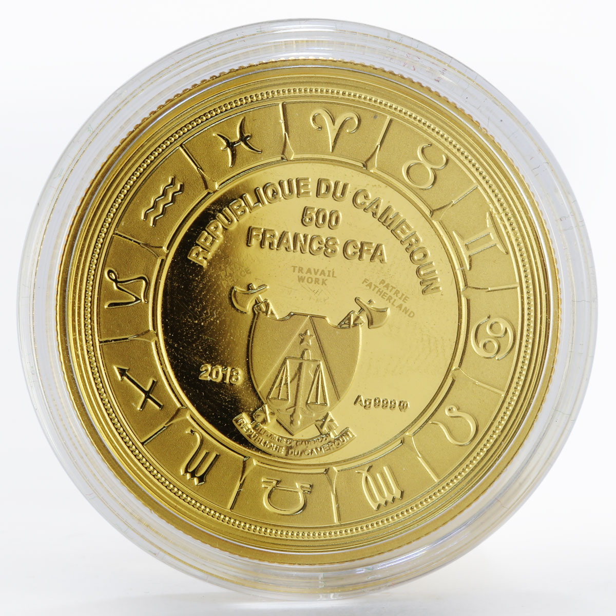 Cameroon 500 francs Zodiac Signs Cancer colored gilded proof silver coin 2018