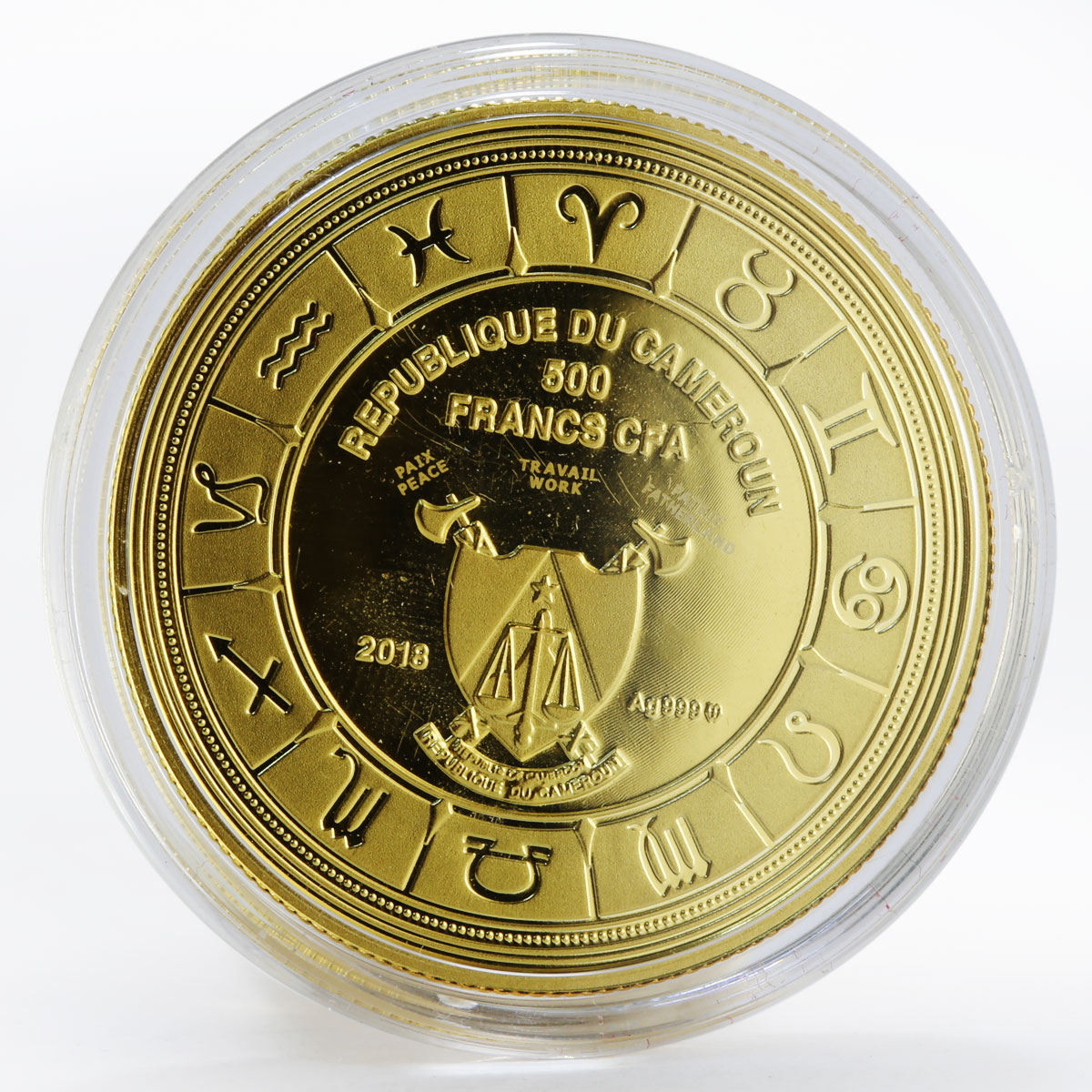 Cameroon 500 francs Zodiac Signs Gemini colored gilded proof silver coin 2018
