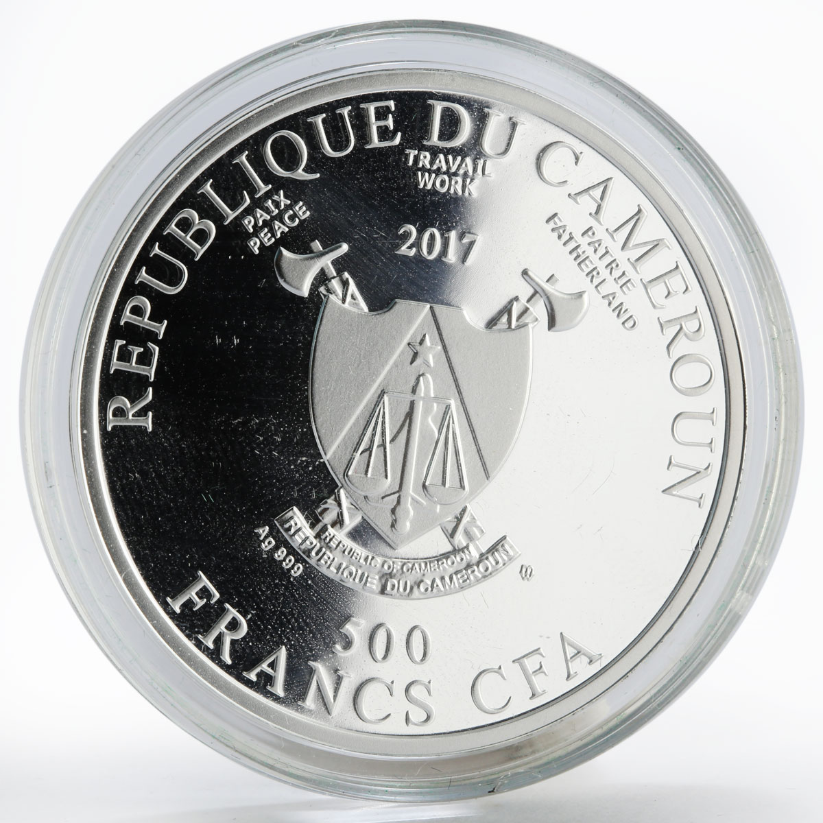 Cameroon 500 francs Schoolar Rembrandt art colored proof silver coin 2017