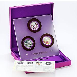 Niue set of 3 coins Magical Flowers Orchids colored proof silver coin 2012
