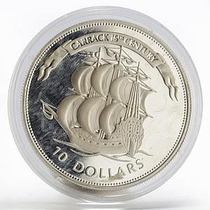 Belize 10 dollars Carrack 16th Century boat ship proof silver coin 1995