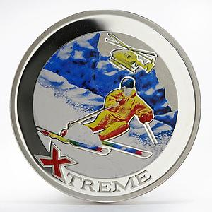 Andorra 10 diners Extreme Sports Heliskiing colored proof silver coin 2007