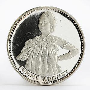 Dahomey 200 francs 10th Anniversary Independence Abomey Woman silver coin 1971