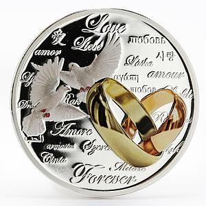 Niue 2 dollars Love forever doves wedding colored proof silver coin 2011