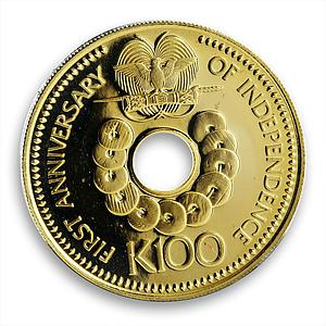 Papua New Guinea 100 kina 1st Anniversary of Independence gold coin 1976