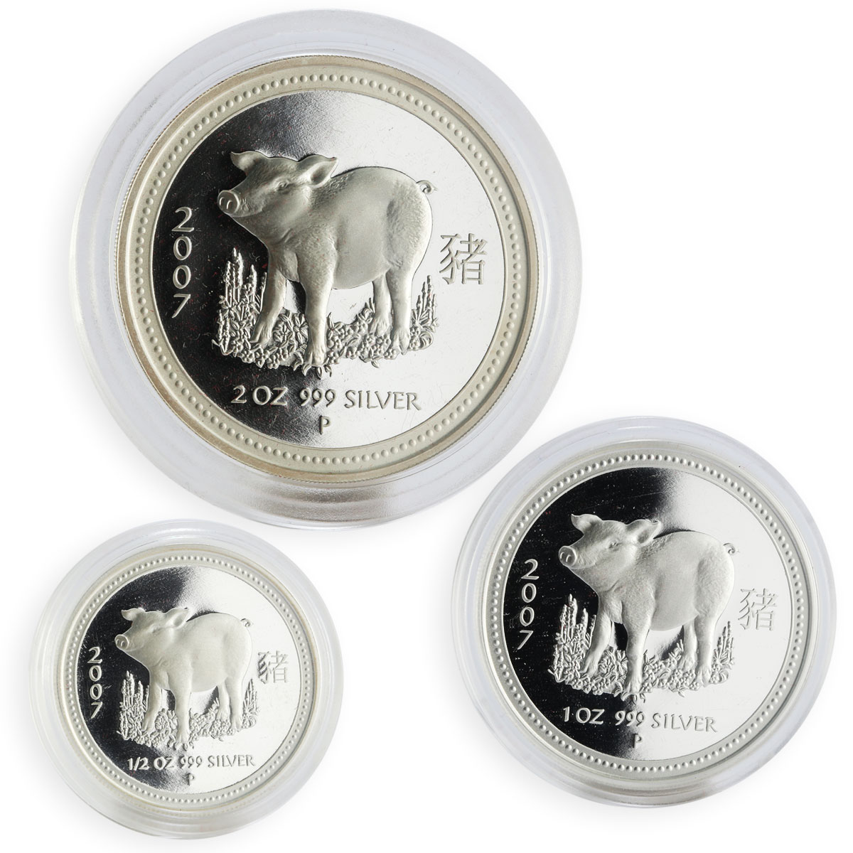 Australia Set of 3 coins Year of the Pig Lunar Silver Proof 2007