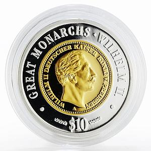 Namibia 10 dollars Great Monarchs Wilhelm II gilded proof silver coin 2009