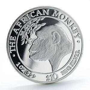Somalia 10 dollars The African Monkey proof silver coin 1998