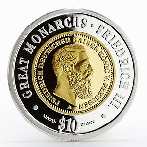 Namibia 10 dollars Great Monarchs Friedrich III gilded proof silver coin 2009