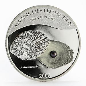 Palau 5 dollars Marine Life Black Pearl colored proof silver coin 2006
