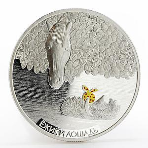 Ghana 5 cedis Hedgehog and Horse in the fog tale colored proof silver coin 2014