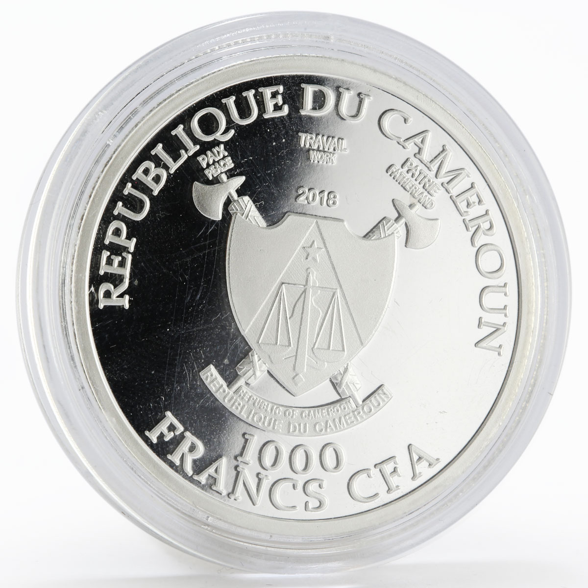 Cameroon 1000 francs World Cup Soccer 2018 Sochi proof silver coin 2018