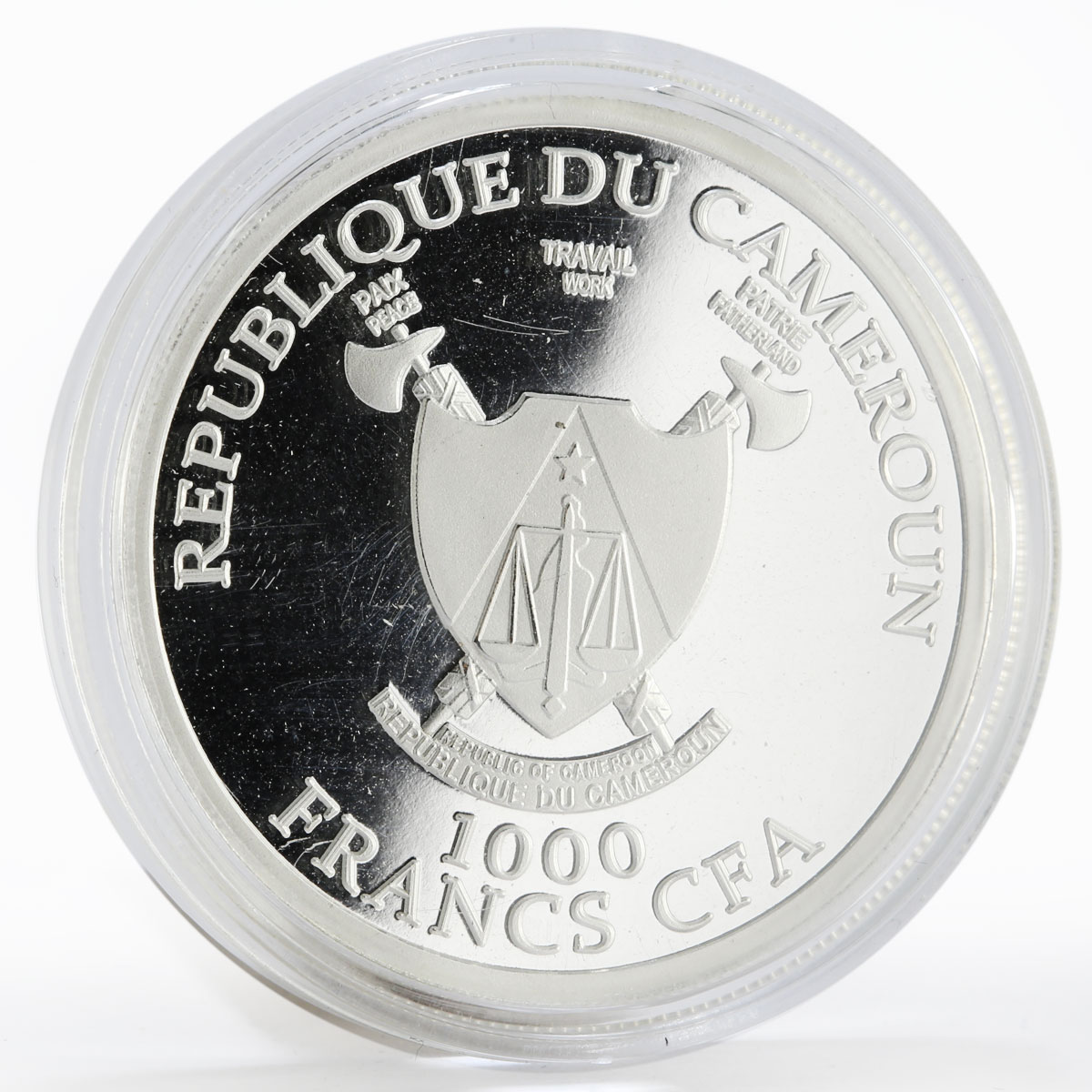 Cameroon 1000 francs World Cup Soccer 2018 Petersburg proof silver coin 2017