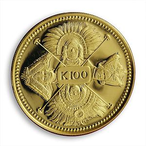 Papua New Guinea 100 kina Four Faces of the Nation Native People gold coin 1979
