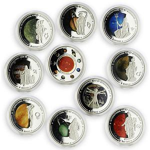 Cook Island set of 10 coins Year of Astronomy Solar System Copper-Nickel 2009