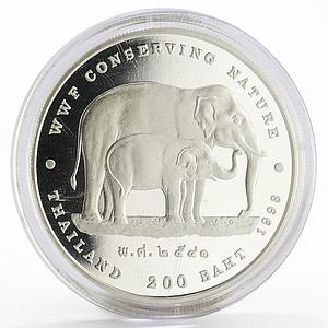 Thailand 200 baht Elephants WWF Conserving Nature silver proof coin 1998