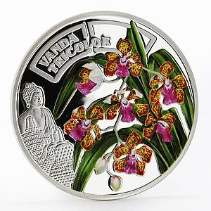 Rwanda 500 francs Orchid Vanda Tricolor flower colored proof silver coin 2011