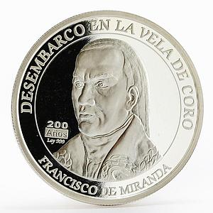 Venezuela 200 bolivares Disembark of Francisco de Miranda proof silver coin 2010
