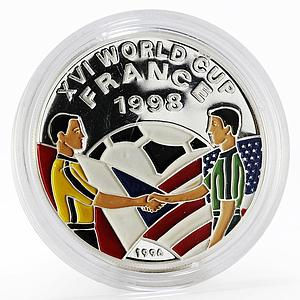 Afghanistan 500 afghanis Soccer World Cup 1998 colored proof silver coin 1996