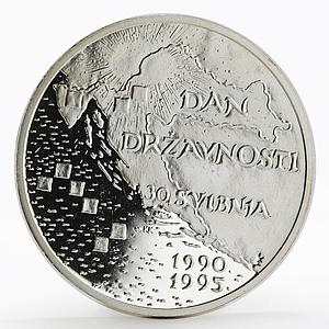 Croatia 200 Kuna 5th Anniversary of Independence proof silver coin 1995